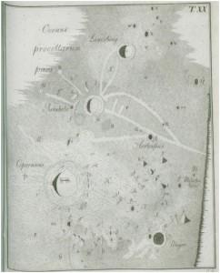 Carte de la Lune dressée par Tobias Mayer. Et comme on n'est jamais mieux servi que par soi-même, en bas, à droite, le cratère lunaire Mayer.